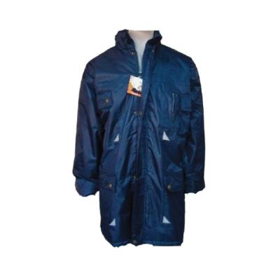 Campera de Abrigo Impermeable Tipo Parka Azul Marino Con Reflectivo Importada