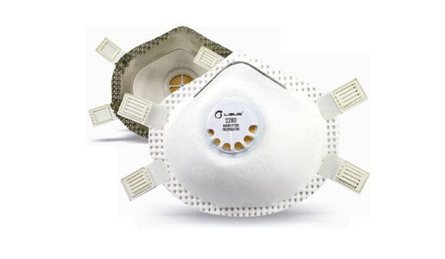 Respirador Libus 2280 P100 para Polvos, Humos y Neblinas Sello Facial 4 Tiras Reg c/Valvula