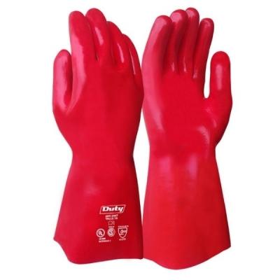 Guante PVC Rojo 35 CM Semi Pesado DUTY